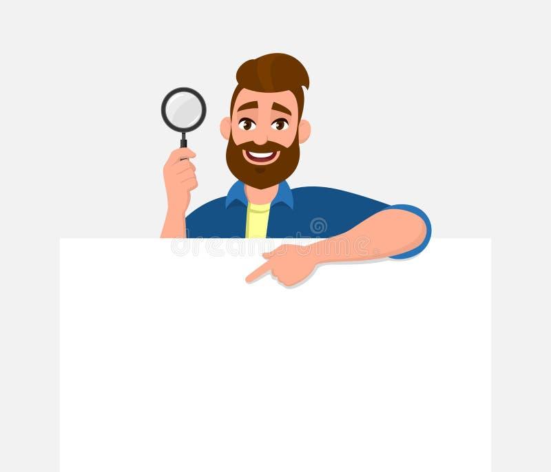 Exibição farpada feliz do homem novo/guardar e placa/o cartaz, o papel ou folha vazia lupa à disposição Busca, achado, descoberta ilustração do vetor