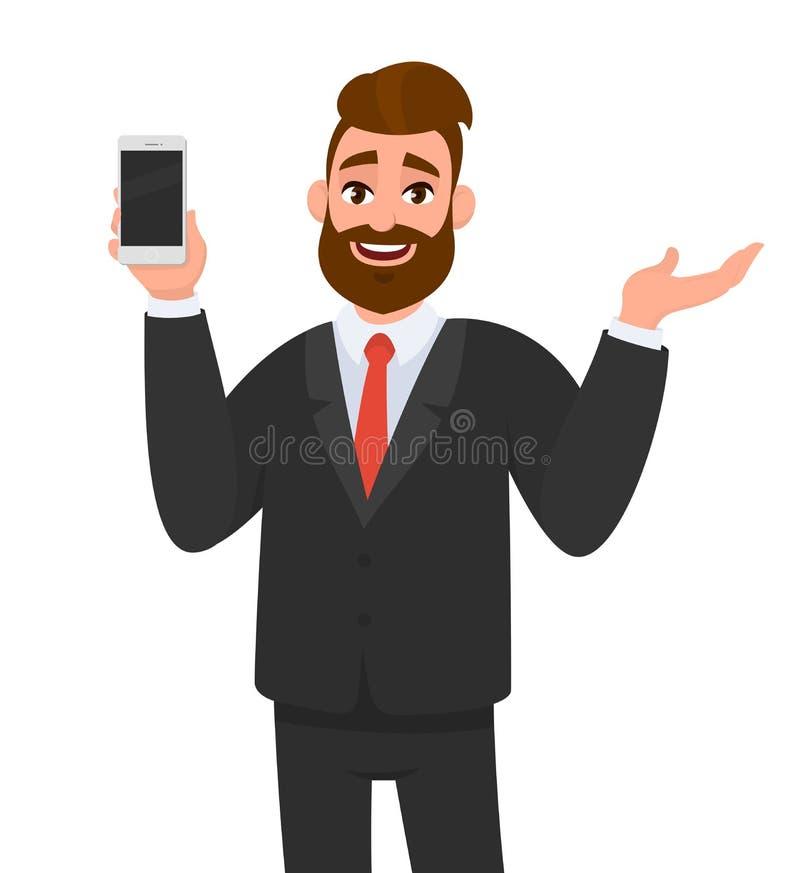 Exibição feliz do homem de negócios ou guardar o telefone esperto, móbil, telefone celular à disposição e gesticular a mão para c ilustração do vetor