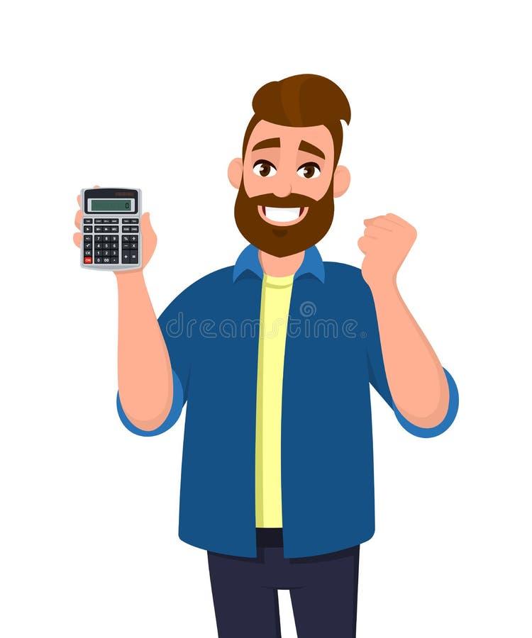 Exibição feliz do homem novo ou guardar o dispositivo digital da calculadora à disposição e gesticular, fazendo o punho aumentado ilustração do vetor