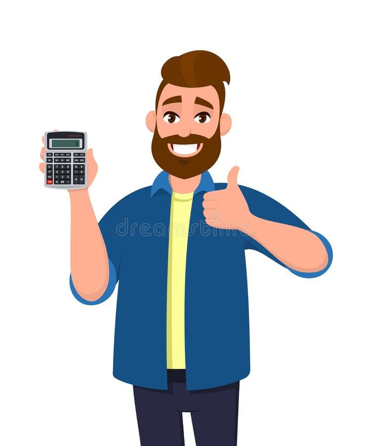 Exibição feliz do homem novo ou guardar um dispositivo digital da calculadora à disposição e gesticular, fazendo os polegares aci ilustração stock