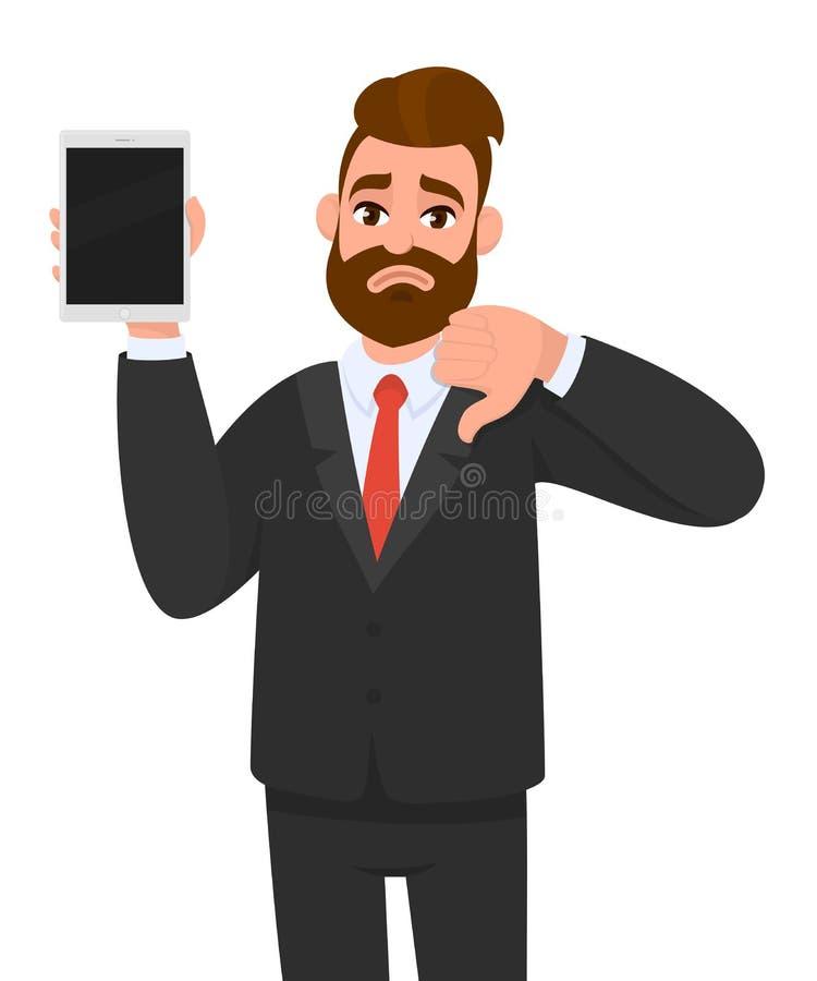Exibição infeliz do homem de negócio/guardar a tela vazia do tablet pc digital novo e gesticular, fatura, mostrando os polegares  ilustração do vetor
