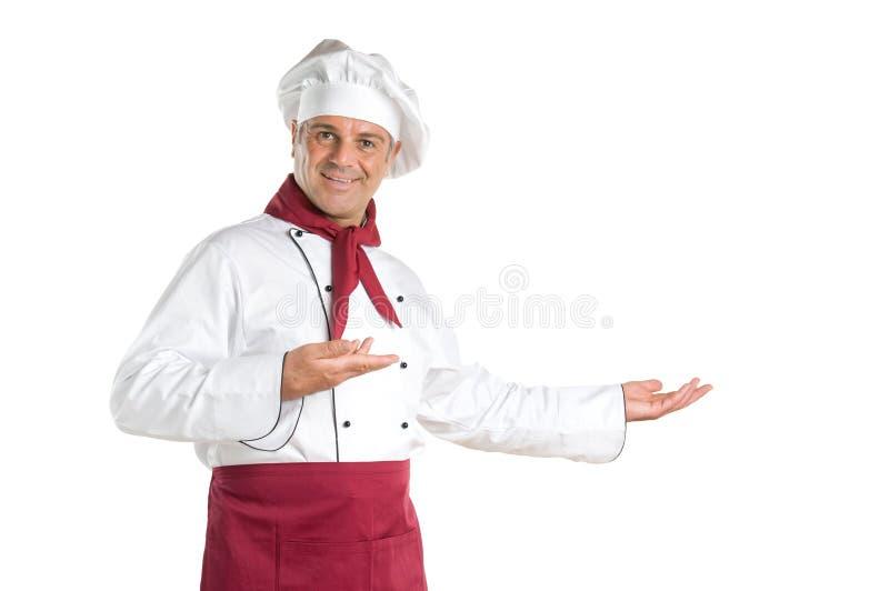 Exibição madura do cozinheiro chefe fotos de stock