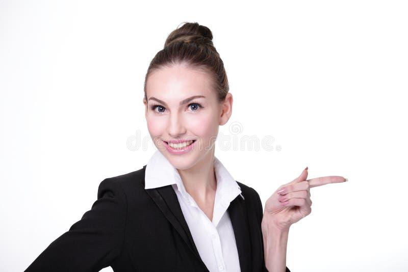 Exibição nova feliz da mulher de negócio imagens de stock
