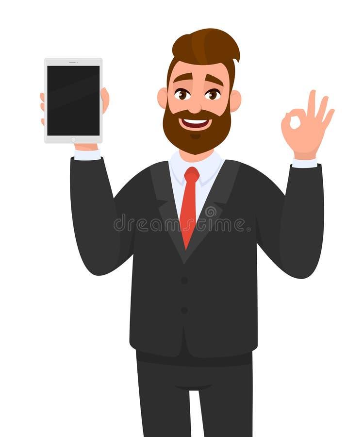 Exibição nova feliz positiva do homem de negócio ou guardar a tela vazia da exposição de tablet pc e gesticular, fazendo a aprova ilustração royalty free