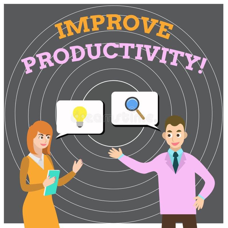 A exibi??o conceptual da escrita da m?o melhora a produtividade Apresentar da foto do neg?cio aumenta a qualidade do tempo da ent ilustração stock