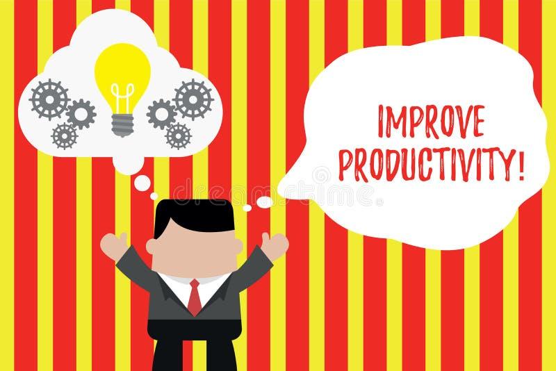 A exibi??o da nota da escrita melhora a produtividade Apresentar da foto do neg?cio aumenta a qualidade do tempo da entrada e ilustração stock