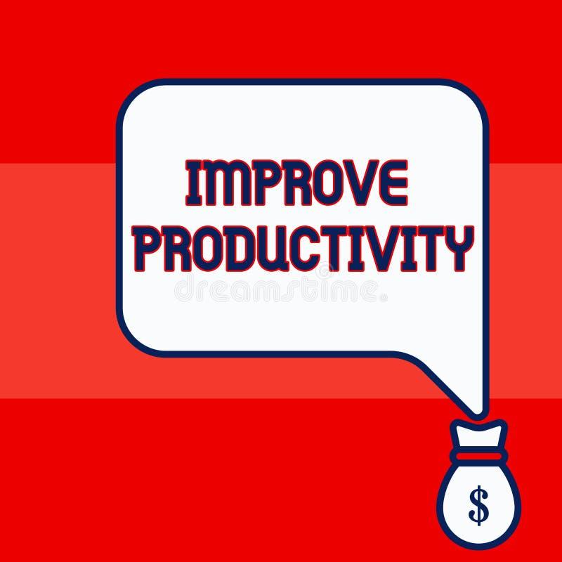 A exibi??o da nota da escrita melhora a produtividade Foto do negócio que apresenta para aumentar a eficiência da máquina e do pr ilustração stock