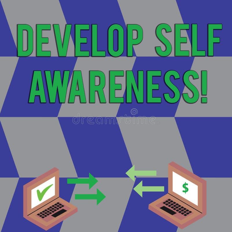 A exibi??o do sinal do texto desenvolve a conscientiza??o de auto Foto conceptual o que você o pensa para se transformar para mot ilustração royalty free