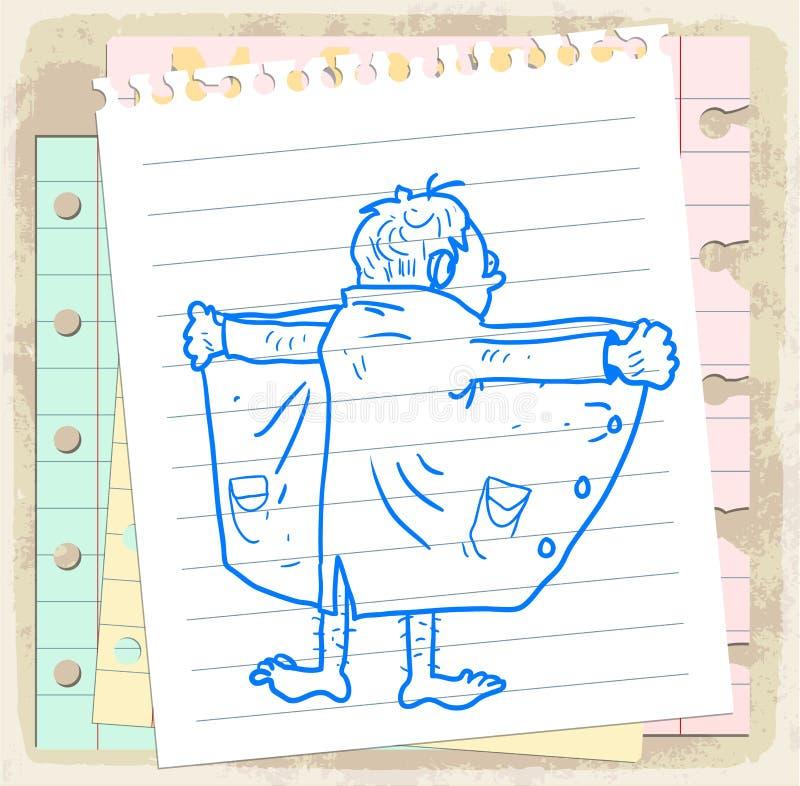 Exibicionista dos desenhos animados na nota de papel, ilustração do vetor ilustração do vetor