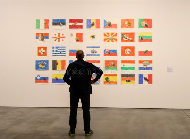 Exibition Motherland in Art at Mocak in Krakow stock photos