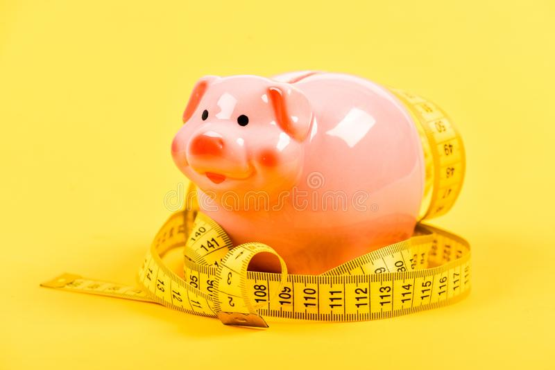 exigence bas salaire Argent d'?conomie deposit régime d'argent Finances et commerce tirelire avec la bande de mesure moneybox image stock