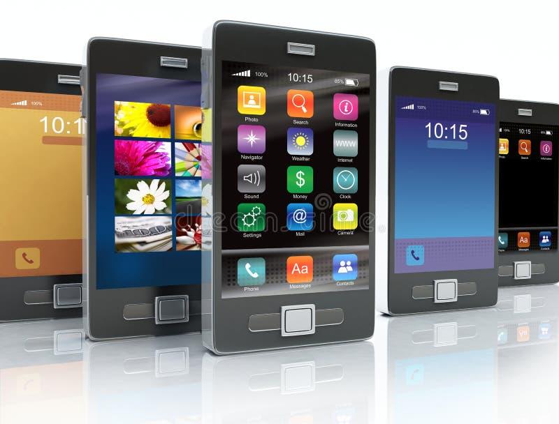 Existencias de los teléfonos de la pantalla táctil stock de ilustración