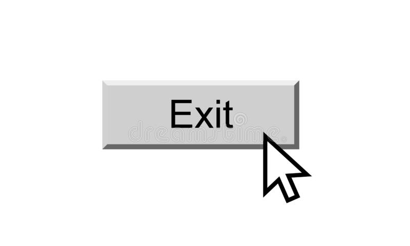 Exit button. Illustration on isolated white background with clicking cursor point stock illustration