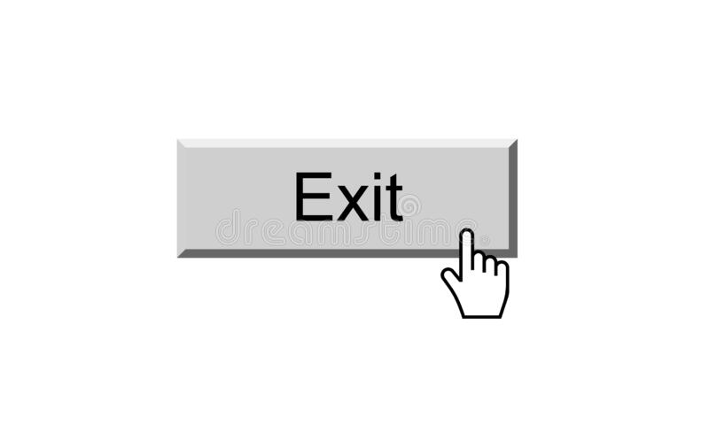 Exit button. Illustration on isolated white background with clicking cursor point royalty free illustration
