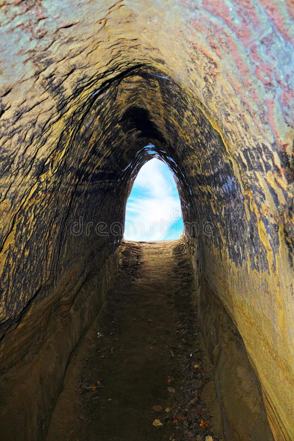 Exit of cavern. Detail of the exit of man made cavern royalty free stock photos