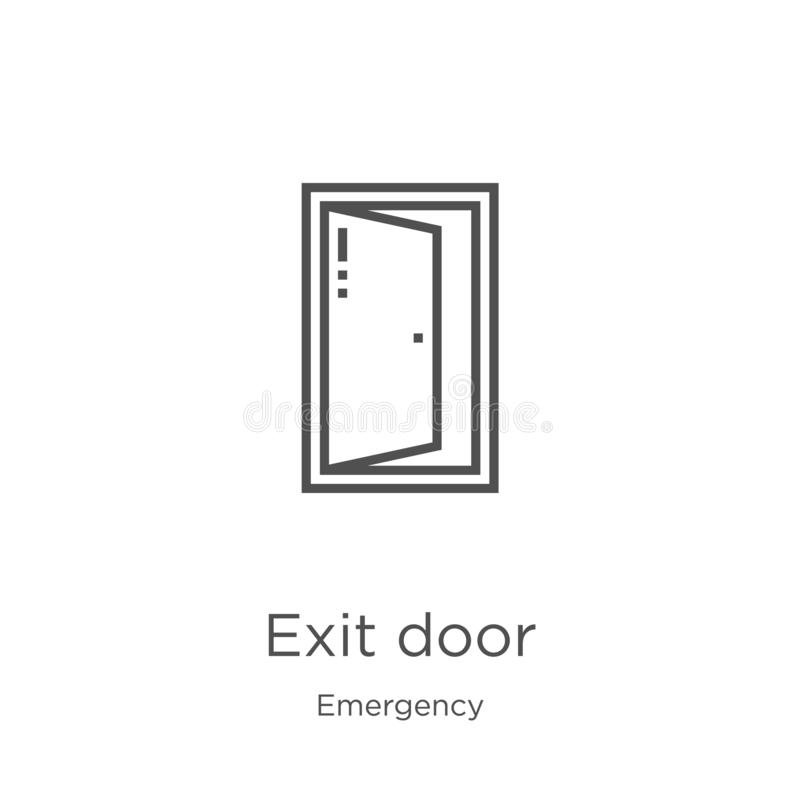 exit door icon vector from emergency collection. Thin line exit door outline icon vector illustration. Outline, thin line exit stock illustration