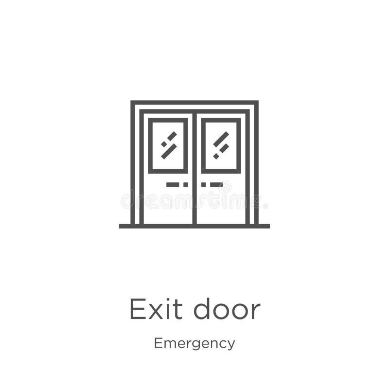 exit door icon vector from emergency collection. Thin line exit door outline icon vector illustration. Outline, thin line exit royalty free illustration