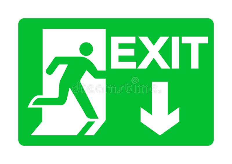 Exit Emergency Green Sign Isolate On White Background,Vector Illustration EPS.10 stock illustration