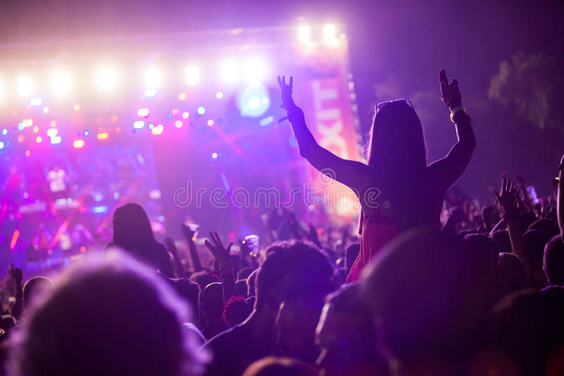 Exit Festival 2015 - Main Stage. NOVI SAD - JULY 11 : Crowd in front of the Main Stage at EXIT 2015 Music Festival during Manu Chao band July 11, 2015 in Novi royalty free stock photo
