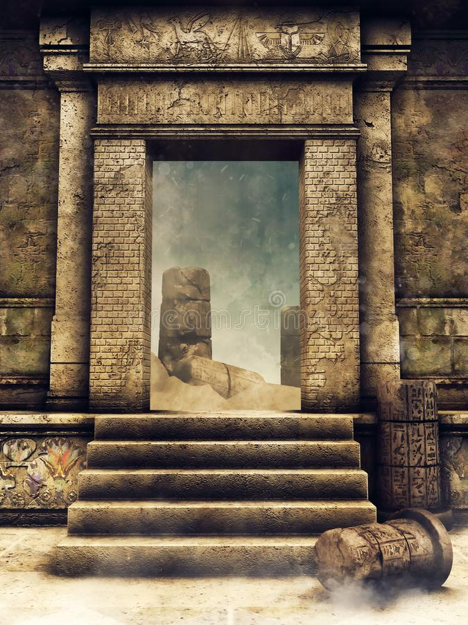 Exit gate of an ancient tomb. Exit gate of a ruined ancient Egyptian tomb facing the desert vector illustration