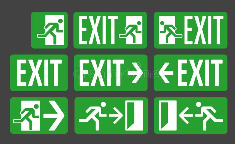 Exit green color signs set. Emergency exit icon collection royalty free illustration
