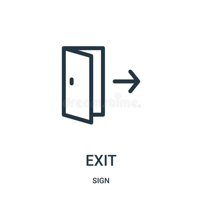 exit icon vector from sign collection. Thin line exit outline icon vector illustration stock illustration