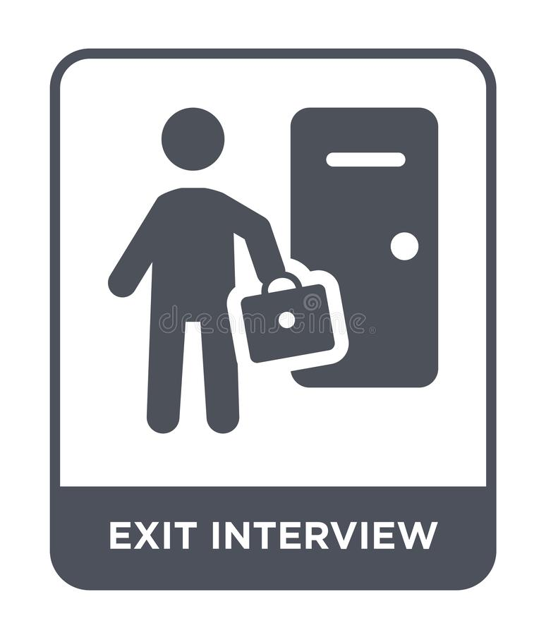 Exit interview icon in trendy design style. exit interview icon isolated on white background. exit interview vector icon simple. And modern flat symbol for web stock illustration