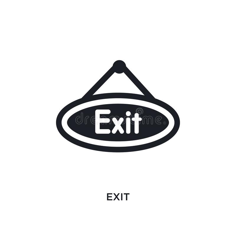 exit isolated icon. simple element illustration from museum concept icons. exit editable logo sign symbol design on white stock illustration