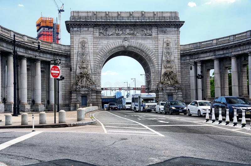 The exit of the Manhattan Bridge in NYC stock image