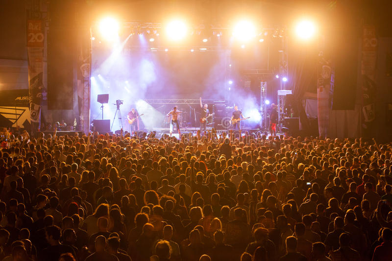 EXIT MUSIC FESTIVAL - Crowd in front of the Fusion stage royalty free stock image