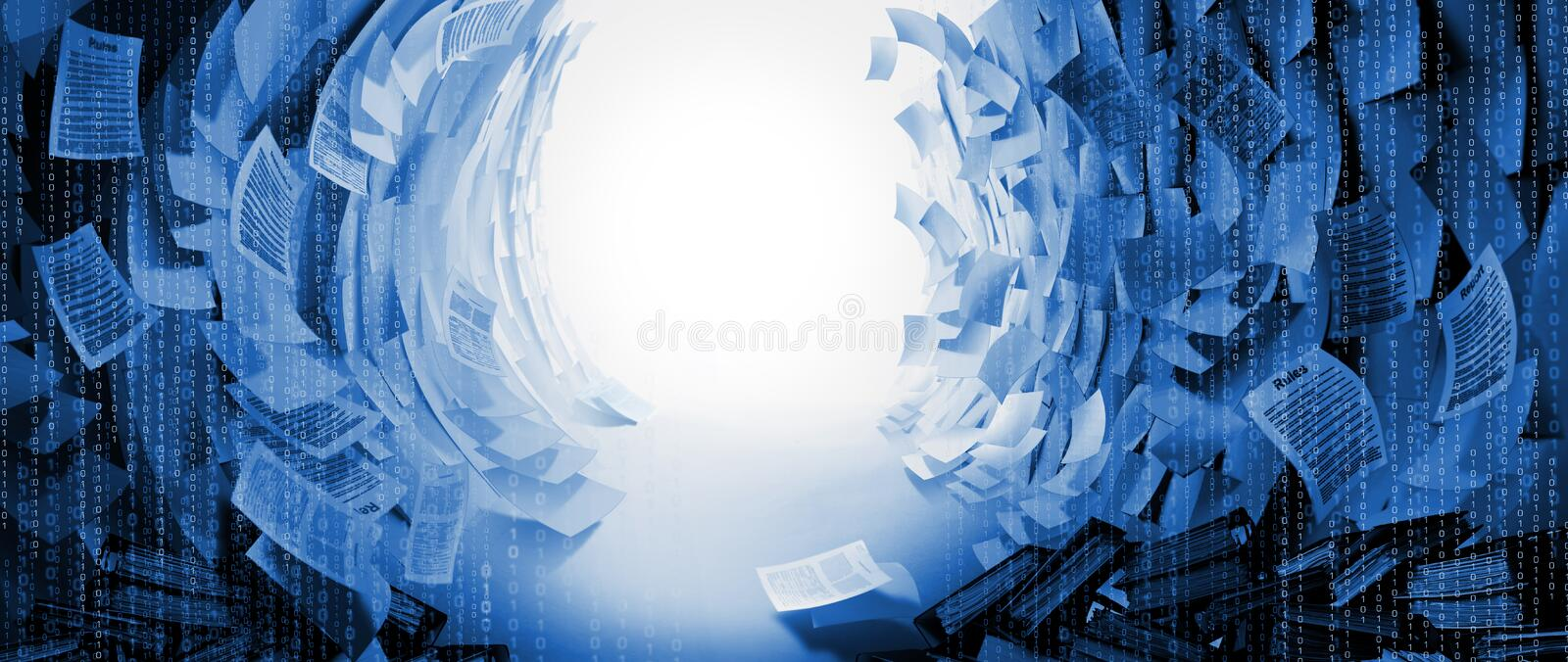 Exit from Obstacle space created by a lot of Business Papers Background stock image
