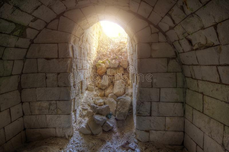 Exit from old underground cellar.  royalty free stock photography