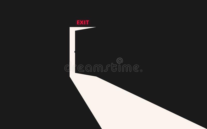 Exit. Opening door vector illustration