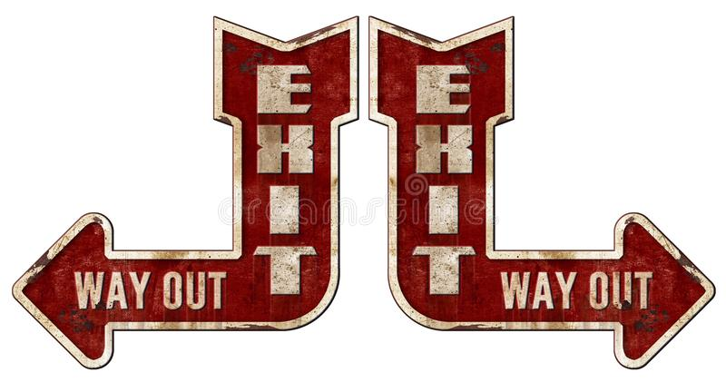 Exit Sign Arrow Grunge. Way Out Vintage Retro Rustic Rusted Metal Tin Street Road Steel stock illustration