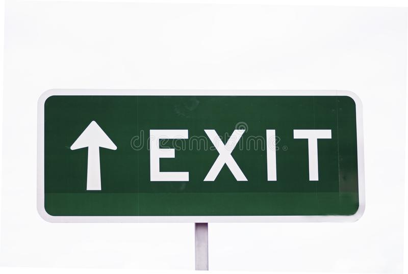 Exit sign arrow pointing up upwards white background royalty free stock image