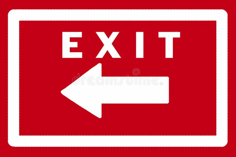 Exit sign in red and white stock photos