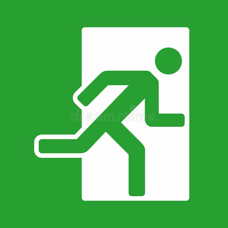 Exit green color sign, emergency exit icon. Exit sign, emergency exit icon, vector illustration on green background royalty free illustration