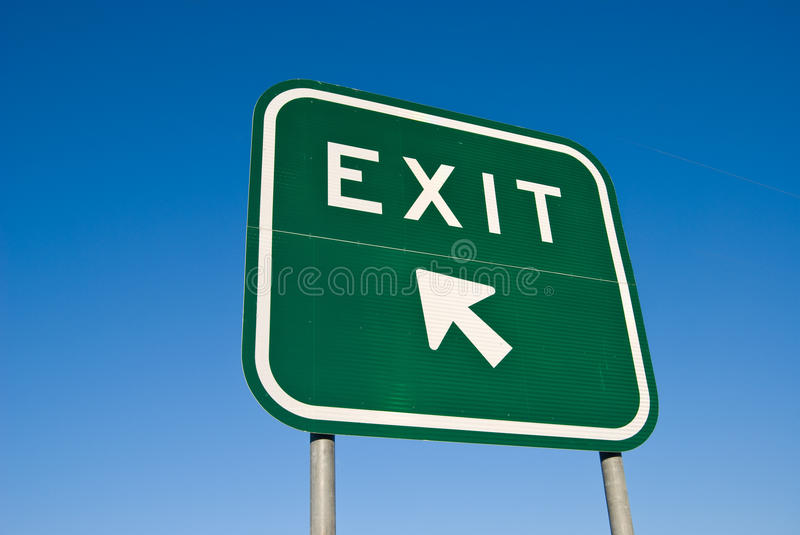 Exit Sign on Freeway royalty free stock photography