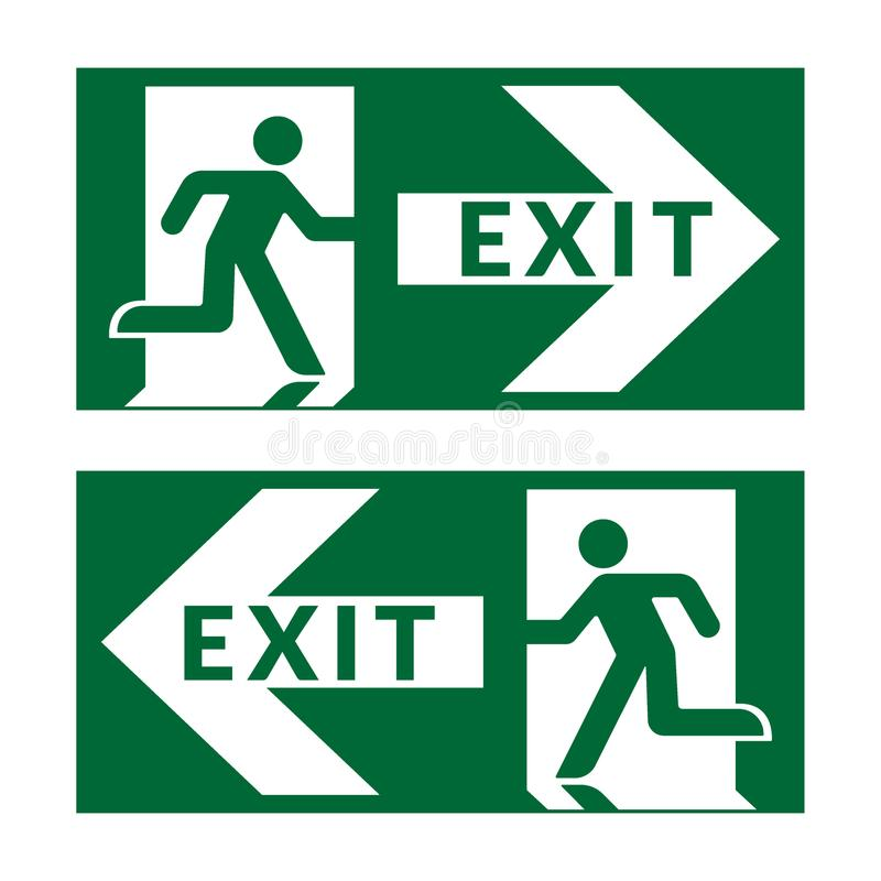 Exit sign green. Exit sign. Emergency fire exit door and exit door. Green icon on white background. Safe condition symbol. Label with human figure and arrow vector illustration