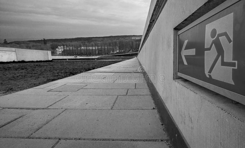 Exit sign Moesgaard museum. On the roof on the recently build Moesgaard Museum, that has granted a lot of adulation for its great architectural idea royalty free stock images