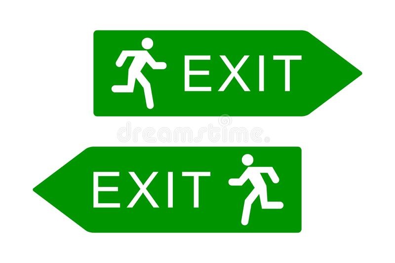 Exit sign with running man icon, green emergency exit door sign, isolated on white background, vector illustration. stock illustration