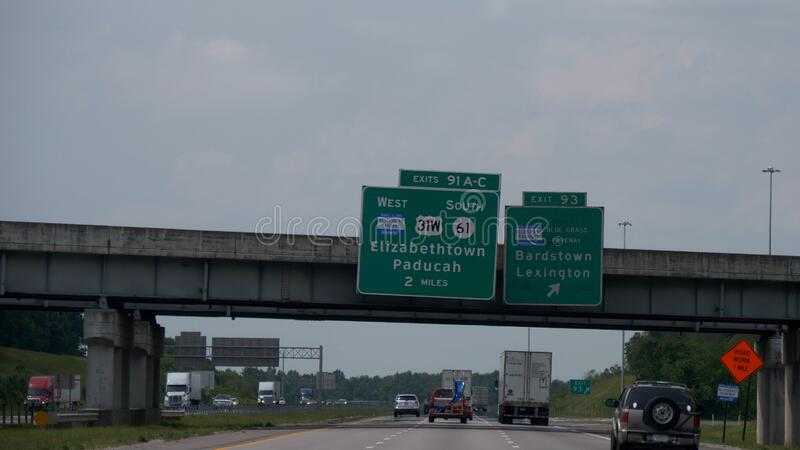 Exit sign to Elizabethtown on the freeway - NASHVILLE, UNITED STATES - JUNE 17, 2019. Exit sign to Elizabethtown on the freeway - NASHVILLE, USA - JUNE 17, 2019 royalty free stock image