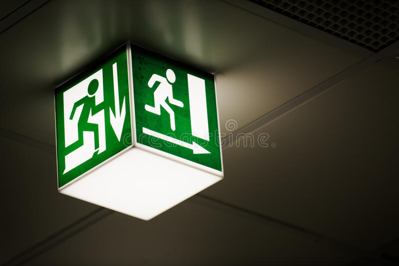 Download Exit sign on the wall stock image. Image of symbol, safety - 33993247