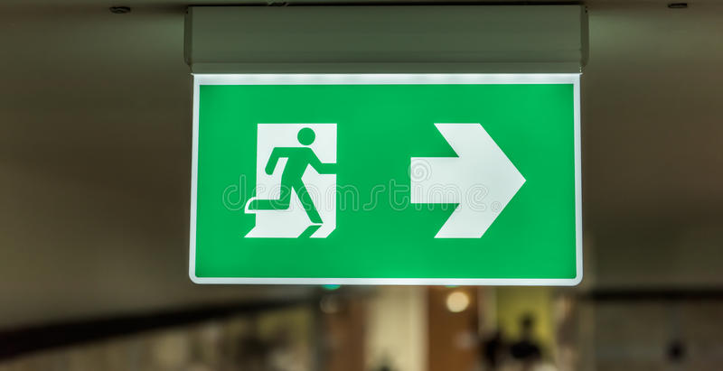 Exit signage light box sign stock photography