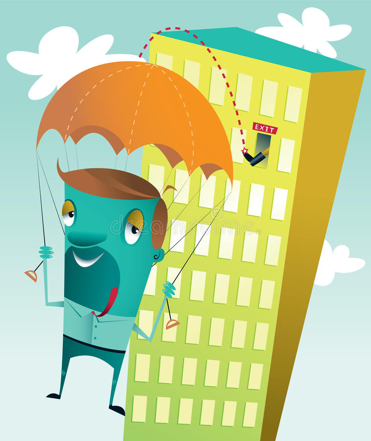 Exit Strategy. A guy getting kicked out of a high rise building (losing his job) making a safe landing because he has a parachute vector illustration