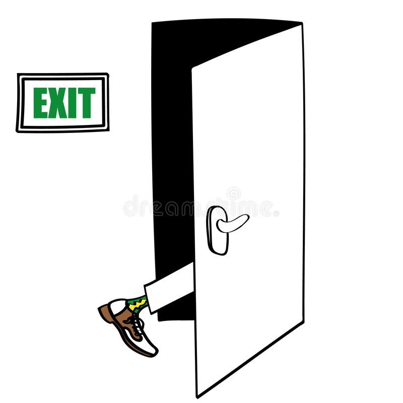 Exit Strategy. Exit door with the leg of a man in formal shoes seen entering and about to disappear as part of his Exit Strategy royalty free illustration