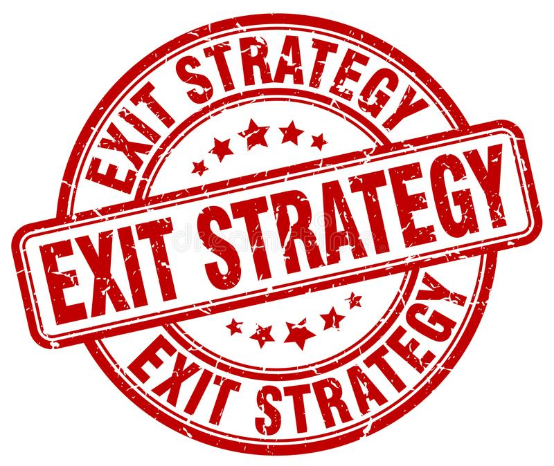 exit strategy red stamp royalty free illustration