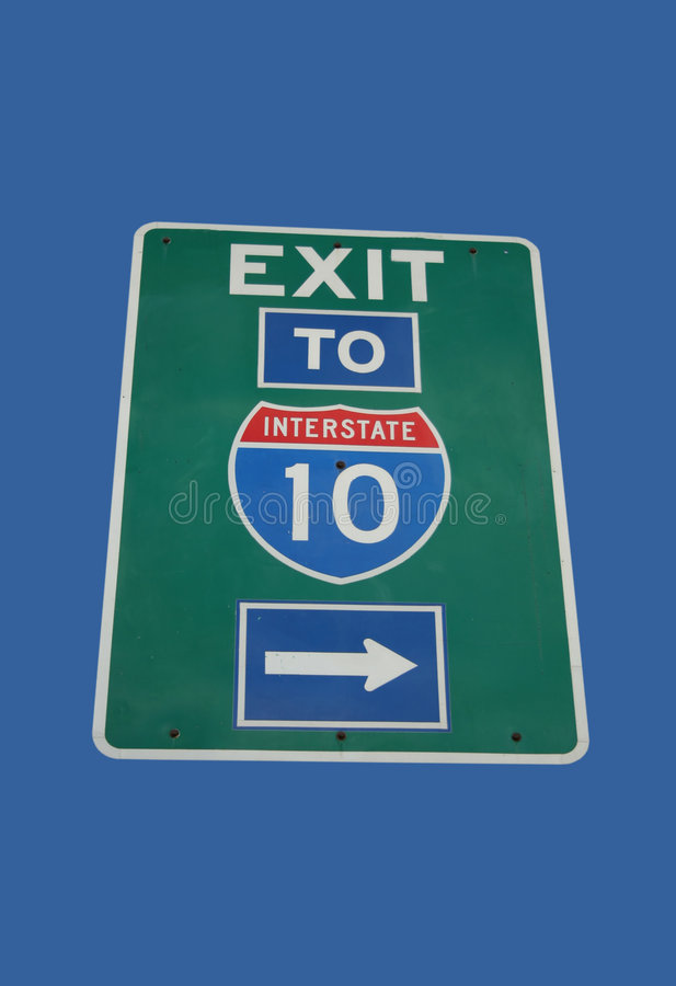 Exit to Interstate 10 sign