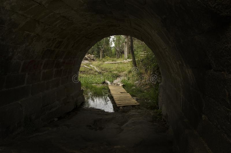 Exit from a tunnel towards nature royalty free stock image