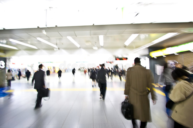 Download Exiting Train Station People Stock Photo - Image of abstract, path: 9110522